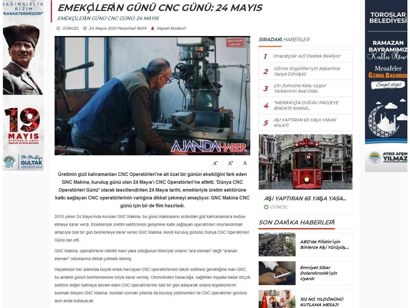 Emekçilerin Günü: 24 Mayıs Dünya CNC Operatörleri Günü