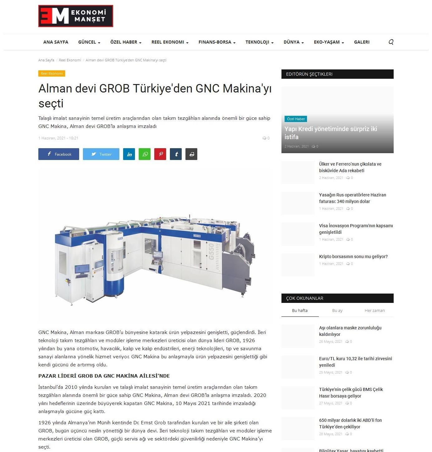 Alman Devi Grob Türkiye'den GNC Makina'yı Seçti!